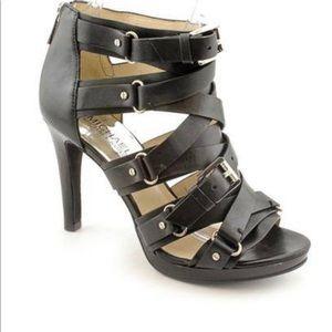 Michael Kors Leonia Bootie Black Leather Heels 9.5